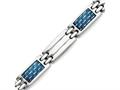 Chisel Stainless Steel Blue Carbon Fiber Inlay Polished Bracelet