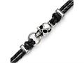 Chisel Stainless Steel Antiqued Skull With Crosses Leather Bracelet