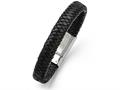 Chisel Stainless Steel Polished Black Woven Leather Bracelet