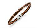 Chisel Stainless Steel Polished Black Ip Black/orange Woven Leather Bracelet