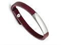 Chisel Stainless Steel Polished Purple Leather Adjustable Bracelet