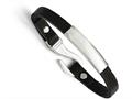 Chisel Stainless Steel Polished Id And Black Leather Bracelet