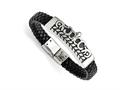 Chisel Stainless Steel Antiqued Fleur De Lis Black Leather Bracelet