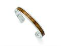 Chisel Stainless Steel Polished Wood Inlay Enameled Bangle