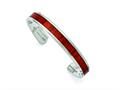 Chisel Stainless Steel Polished Red Wood Inlay Bangle
