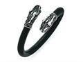 Chisel Stainless Steel Polished And Antiqued Rubber Dragon Bracelet