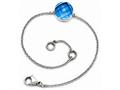 Chisel Stainless Steel Polished Blue Glass W/1in Ext Bracelet