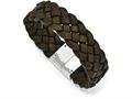 Chisel Stainless Steel Polished Woven Brown Leather Bracelet