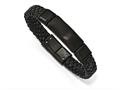 Chisel Stainless Steel Brushed Black Ip-plated Braided Leather Bracelet