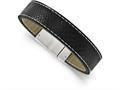 Chisel Stainless Steel Brushed Black Leather Bracelet