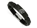 Chisel Stainless Steel Polished Antiqued Eagle Head Black Leather Bracelet