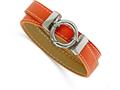 Chisel Stainless Steel Polished Orange Leather Wrap Bracelet