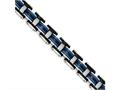 Chisel Stainless Steel Polished W/ Black and Blue Rubber Bracelet