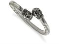Chisel Stainless Steel Antiqued And Polished Skull Cuff Bangle