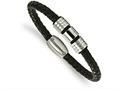 Chisel Stainless Steel Polished And Brushed Leather Bracelet