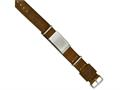 Chisel Stainless Steel Polished Brown Leather Adj. Id Bracelet