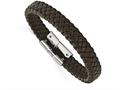 Chisel Stainless Steel Polished Braided Brown Leather Bracelet