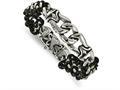 Chisel Stainless Steel Polished Antiqued Black Leather Bracelet