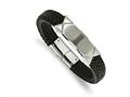 Chisel Stainless Steel Brushed/polished Blk Leather Id Bracelet