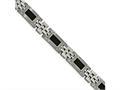 Chisel Stainless Steel Polished Black Carbon Fiber Link Bracelet