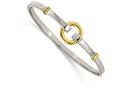 Chisel Stainless Steel Polished Yellow Ip-plated Bangle