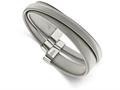 Chisel Stainless Steel Polished And Textured Moveable Cuff Bangle