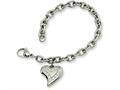 Chisel Stainless Steel CZ Heart Charm Fancy 7.5in Bracelet