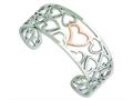 Chisel Stainless Steel Polished and Pink Ip-plated Hearts Cuff Bangle