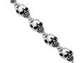 Chisel Stainless Steel Antiqued Skulls 8.5in Bracelet