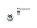 Chisel Stainless Steel Polished Blue And Clear CZ Post Earrings