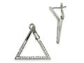 Chisel Stainless Steel Polished With Crystal Triangle Omega Back Earrings