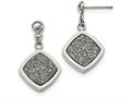 Chisel Stainless Steel Polished With Silver Druzy Post Dangle Earrings