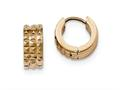 Chisel Stainless Steel Polished Rose Ip Studded Huggie Earrings