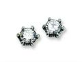 Chisel Stainless Steel Antiqued CZ Post Earrings