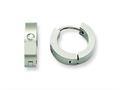 Chisel Stainless Steel CZ Brushed Hinged Hoop Earrings