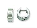 Chisel Stainless Steel CZ Brushed and Polished Hinged Hoop Earrings