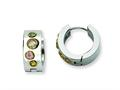 Chisel Stainless Steel Multicolor CZ and Ip-plated Hinged Hoop Earrings