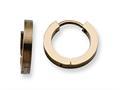 Chisel Stainless Steel Brown Ip Plated Hinged Hoop Earrings