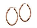 Chisel Stainless Steel Brown Plated 50mm Oval Hoop Earrings