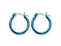 Chisel Stainless Steel Blue Ip Plated 19mm Hoop Earrings
