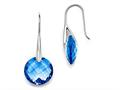 Chisel Stainless Steel Polished Blue Glass Shepherd Hook Earrings