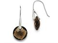 Chisel Stainless Steel Polished Dark Brown Glass Shepherd Hook Earrings