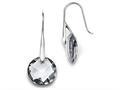 Chisel Stainless Steel Polished Grey Glass Shepherd Hook Earrings