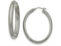 Chisel Stainless Steel Polished Textured Oval Hoop Earrings