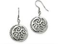 Chisel Stainless Steel Polished Textured Shepherd Hook Dangle Earrings