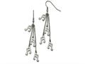 Chisel Stainless Steel Multi Strand Music Note Dangle Shepherds Hook Earrings