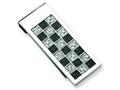 Chisel Stainless Steel Polished Black And Grey Carbon Fiber Money Clip