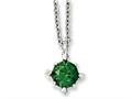 Chisel Stainless Steel Green CZ Pendant 18in Necklace
