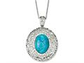Chisel Stainless Steel Simulated Turquoise Pendant Necklace