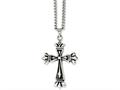 Chisel Stainless Steel Polished and Antiqued Cross 24in Necklace